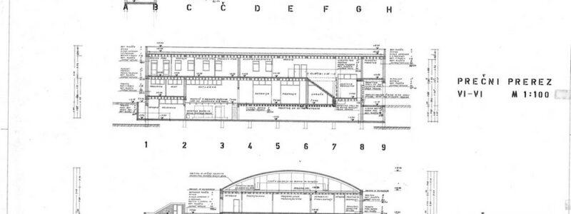 Kino dvorana Koper vzdolžni in prečni prerez