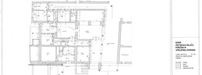 Koper, Pretorska palača, poročna i sprejemna dvorana. Tloris pritličja, list 1.
