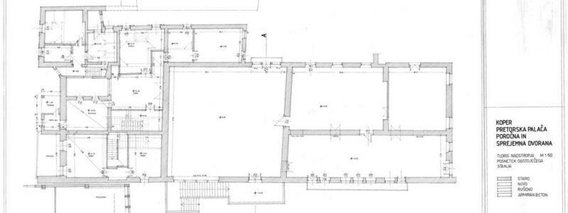 Koper, Pretorska palača, poročna i sprejemna dvorana. Tloris nadstropja, list 2.