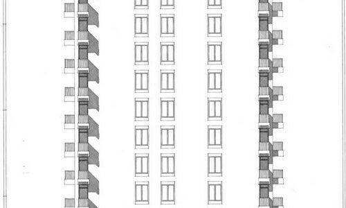 Stolpnica Vojkovo Nabrežje, Fasada, M 1:50