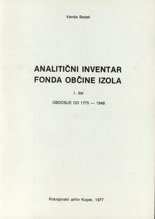 Inventar fonda občine Izola 1. del, Naslovna